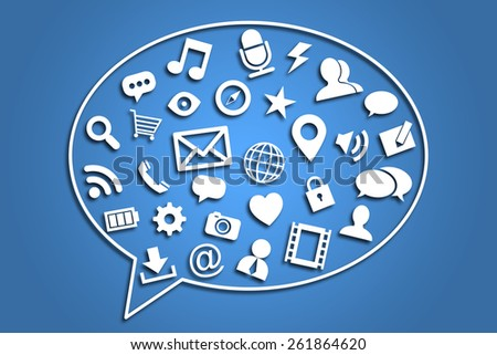 Social media concept is on blue background. - stock photo