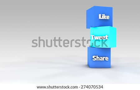 Social media concept like, tweet, share - stock photo