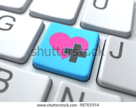 Social Media Concept.Online Love Button on Keyboard.