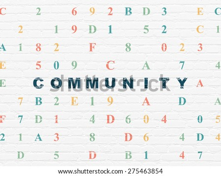 Social media concept: Painted blue text Community on White Brick wall background with Hexadecimal Code, 3d render - stock photo