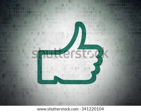 Social media concept: Painted green Thumb Up icon on Digital Paper background with Scheme Of Hexadecimal Code - stock photo