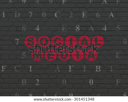 Social media concept: Painted red text Social Media on Black Brick wall background with Hexadecimal Code, 3d render - stock photo