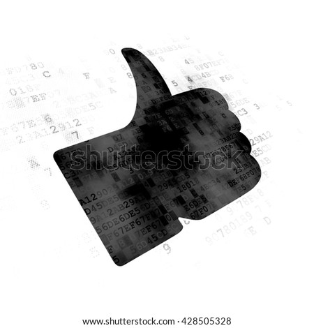 Social media concept: Pixelated black Thumb Up icon on Digital background - stock photo