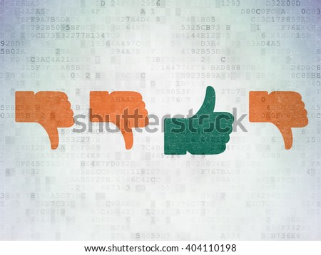 Social media concept: row of Painted orange thumb down icons around green thumb up icon on Digital Paper background - stock photo