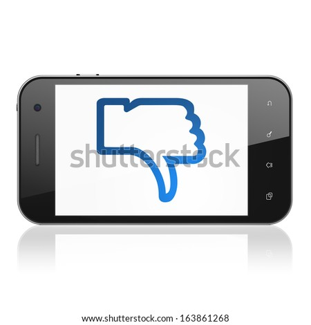 Social media concept: smartphone with Unlike icon on display. Mobile smart phone on White background, cell phone 3d render - stock photo