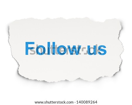 Social media concept: torn paper with words Follow us on Paper background, 3d render - stock photo