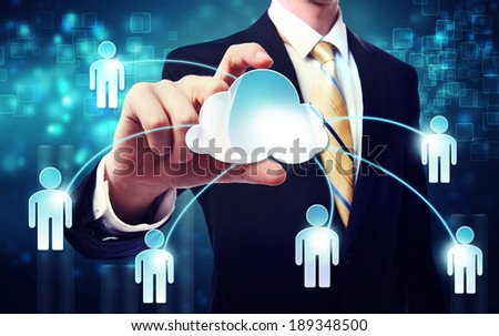 Social media concept with businessman over blue technology background - stock photo