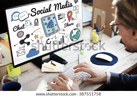 Social Media Connection Global Communication Concept - stock photo