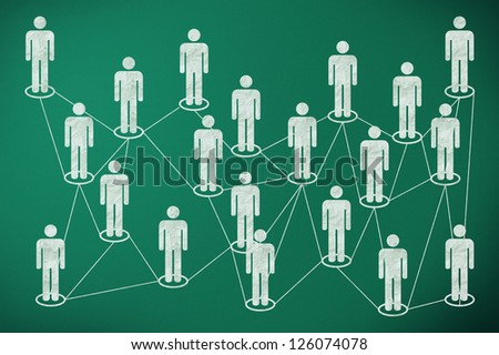 social media connection on green chalk board - stock photo