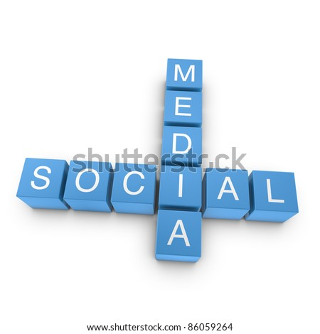 Social media crossword on white background, 3D rendered illustration - stock photo