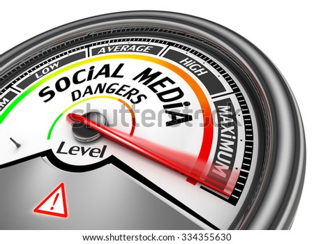 Social media dangers level to maximum modern conceptual meter, isolated on white background