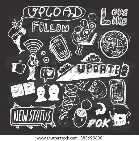 social media doodle on chalkboard background - stock photo