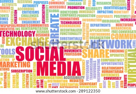 Social Media Experience and Services Available as Art - stock photo
