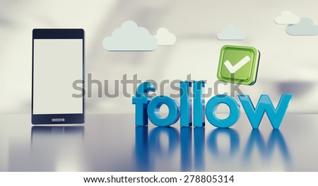 """Social media """"follow"""" concept on reflective steel surface with smartphone with empty screen on the left. - stock photo"""