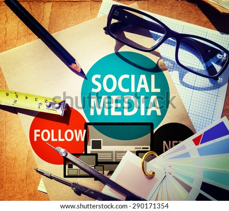 Social Media Follow Networking Connecting Internet Concept - stock photo