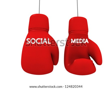 social media game fight between brands - stock photo