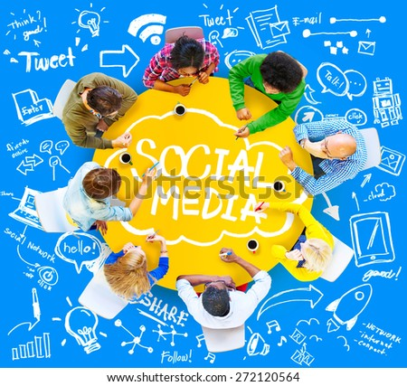 Social Media Global Communication Technology Connection Concept - stock photo