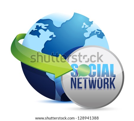 social media globe illustration design over a white background