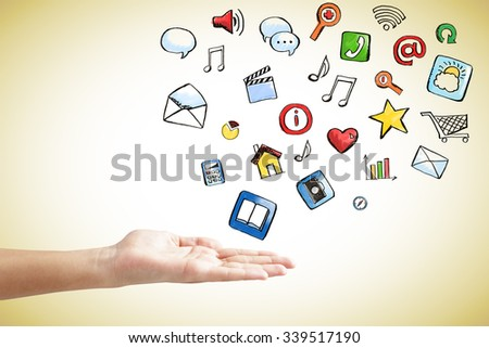 Social media icons concept with man hand  - stock photo