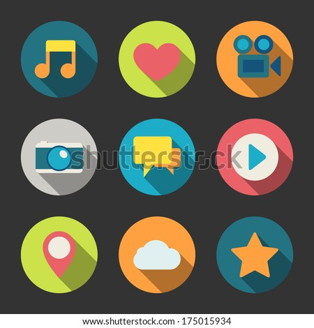 Social media icons set for blogging networking and content isolated  illustration - stock photo