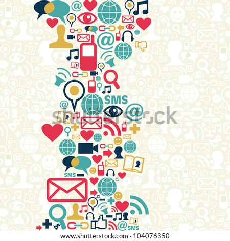 Social media icons set in aleatory shape layout. - stock photo