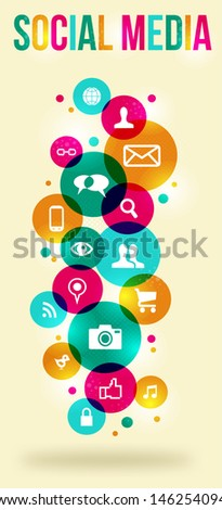 Social media icons set in colorful circle layout.  - stock photo