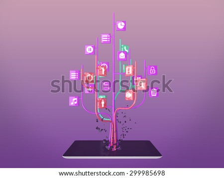 Social media icons set in tree shape on Modern black tablet pc - stock photo