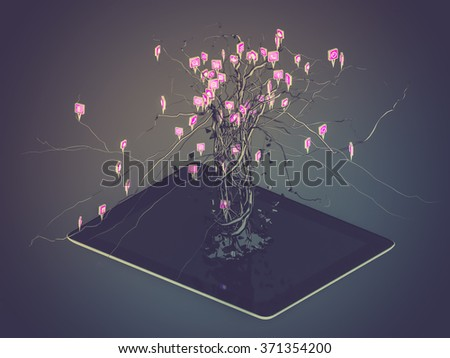 Social media icons set in tree shape on Modern black tablet pc, concept - stock photo