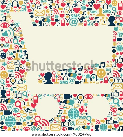 Social media icons texture with shopping cart shape composition background.