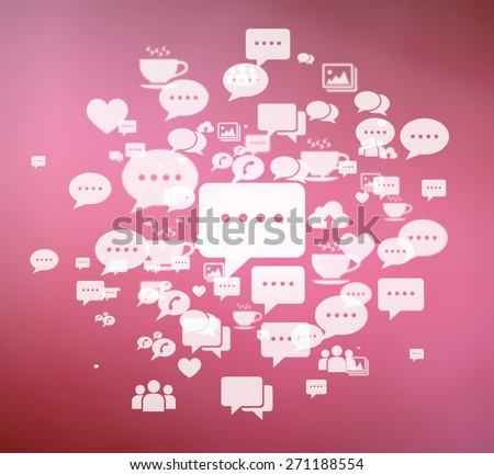 Social media icons with big chat icon in the center. - stock photo