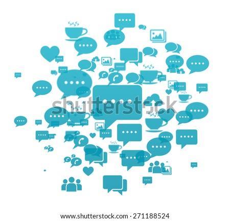 Social media icons with big chat icon in the center isolated on white. - stock photo