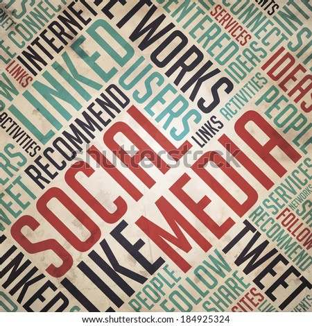 Social Media in Red and Blue Color. Vintage Wordcloud Concept. - stock photo
