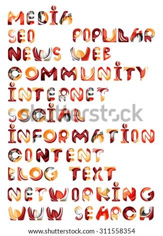 Social media in the internet - words, tags. Flowing wave design of letters - stock photo
