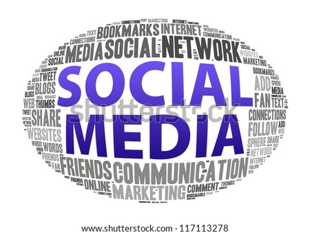 Social media info-text graphics and arrangement concept on white background - stock photo