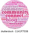 Social media info-text graphics and arrangement concept on white background (word cloud) - stock photo