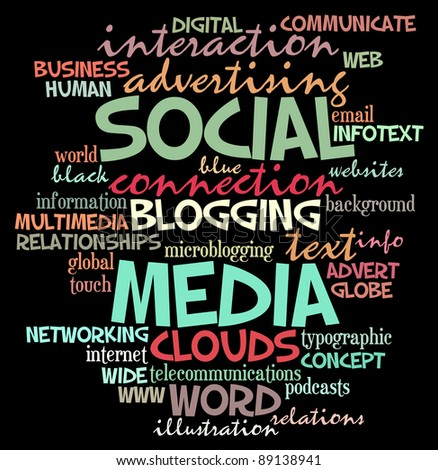 social media info-text graphics and arrangement concept  (word clouds) - stock photo