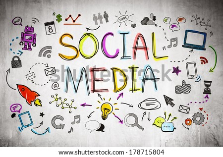 Social Media Infographic on Concrete Background - stock photo