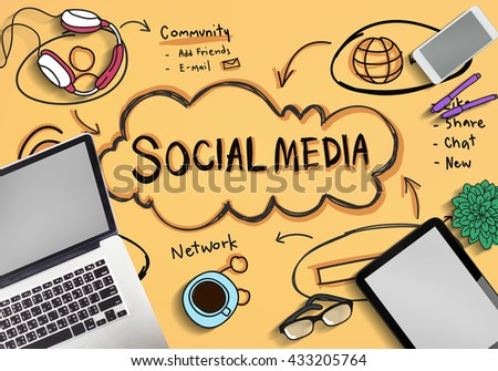Social Media Internet Network Technology Concept - stock photo
