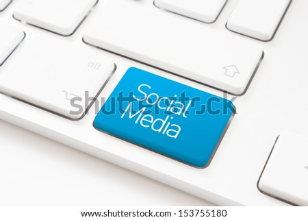 Social media key on a white keyboard - stock photo