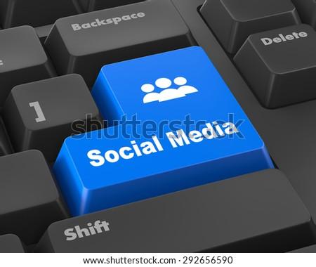 Social media keyboard button - stock photo