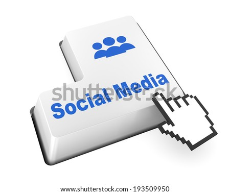 Social media keyboard button like facebook twitter share thumb up - stock photo