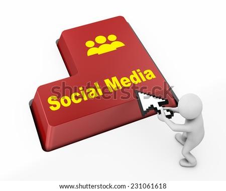 Social media keyboard button ,socail media, - stock photo