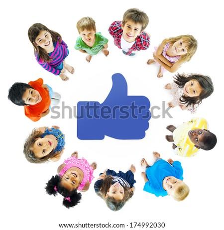 Social Media Kids - stock photo