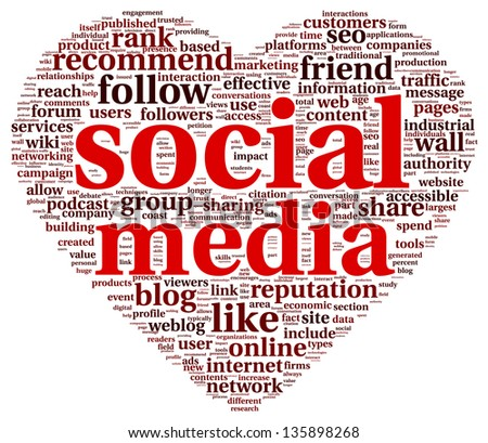 Social media love concept in word tag cloud of think bubble - stock photo