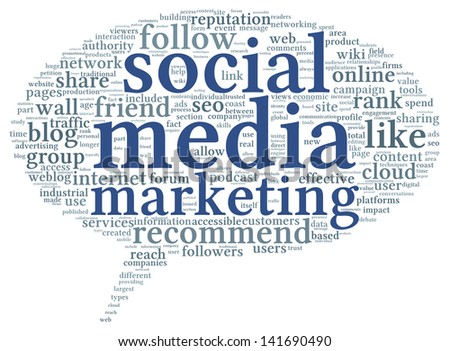 Social media marketing concept in word tag cloud of think bubble - stock photo