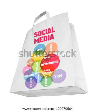 social media marketing concept,shopping bag, knocked out  - stock photo