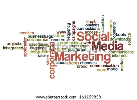 social media marketing concept word cloud on white - stock photo