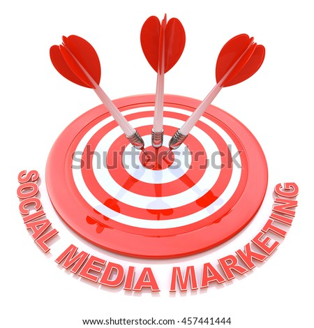 Social media marketing in the design of information related to the issues, and goals. 3d illustration - stock photo