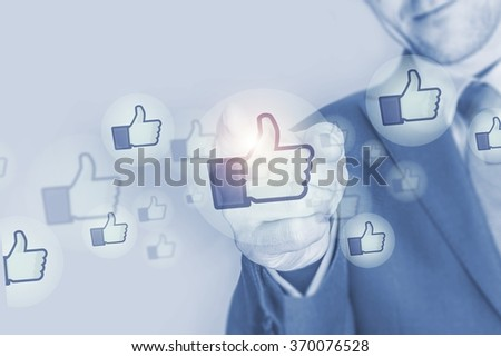 Social Media Marketing Investment Concept Illustration with Businessman and Social Media Icons - stock photo