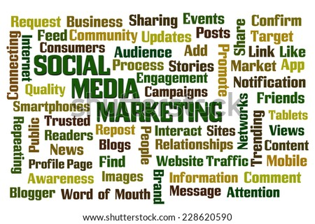 Social Media Marketing word cloud - stock photo